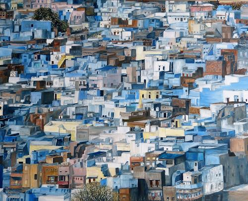 Theresia Züllig, Jodhpur ,blaue Stadt Indien, Miscellaneous Buildings, Miscellaneous Landscapes, Naturalism, Abstract Expressionism