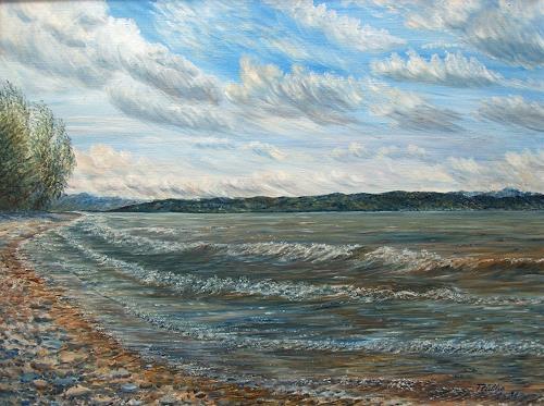 Theresia Züllig, Wellen am Strand Langenargen, Landscapes: Sea/Ocean, Nature: Water, Naturalism, Expressionism