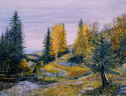 Theresia Züllig, Wanderung Appenzellerland, Nature: Wood, Plants: Trees, Impressionism