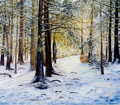 Theresia Züllig, Winterwald, Nature: Wood, Landscapes: Winter, Impressionism, Expressionism