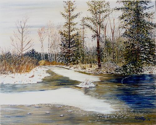 Theresia Züllig, Winter im Hudelmoos, Landscapes: Winter, Nature: Miscellaneous, Impressionism