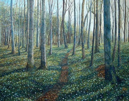 Theresia Züllig, Buchenwald im Frühling, Landscapes: Spring, Plants: Trees, Impressionism