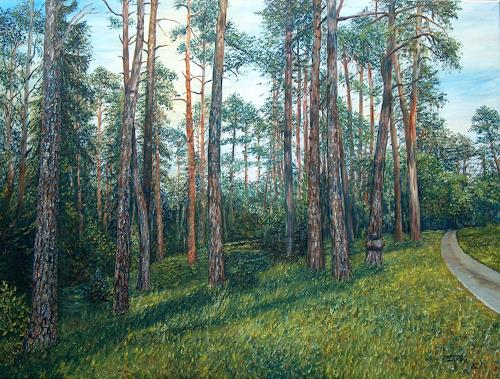 Theresia Züllig, Föhrenwald, Plants: Trees, Nature: Wood, Impressionism