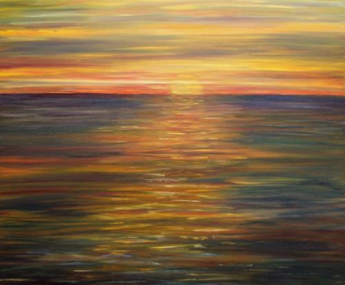 Theresia Züllig, Abendlicht auf dem Meer, Landscapes: Sea/Ocean, Nature: Water, Impressionism
