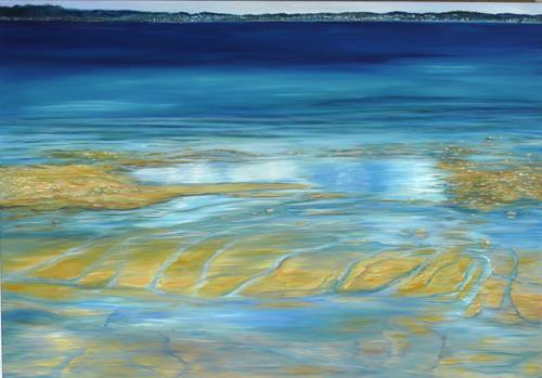 Theresia Züllig, Sonne am Nordcap, Landscapes: Sea/Ocean, Nature: Water, Naturalism