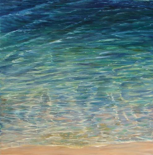 Theresia Züllig, Spaziergang am Meer, Landscapes: Sea/Ocean, Nature: Water, Impressionism