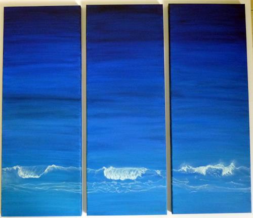 Theresia Züllig, Wellen, Landscapes: Sea/Ocean, Abstract Art