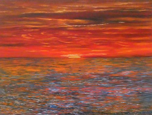 Theresia Züllig, Skagen Sonnenuntergang, Landscapes: Sea/Ocean, Nature: Water, Impressionism