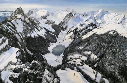 Theresia Züllig, Blick vom Hohen Kasten, Landscapes: Mountains, Landscapes: Winter, Impressionism, Expressionism