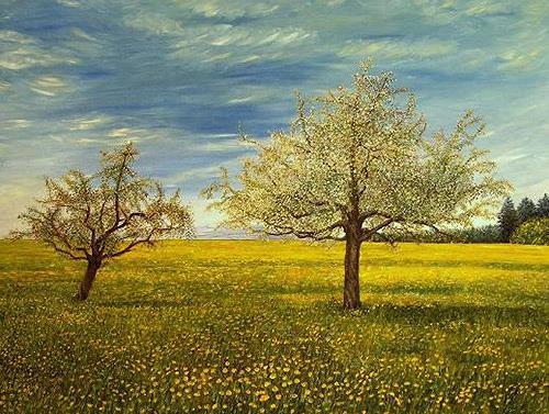 Theresia Züllig, Frühlingslandschaft im Thurgau, Landscapes: Spring, Nature: Earth, Impressionism, Naturalism