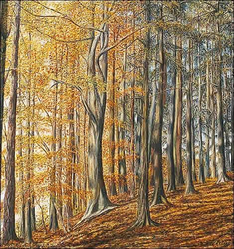 Theresia Züllig, Im Herbstwald, Nature: Wood, Plants: Trees, Naturalism, Naturalism, Expressionism