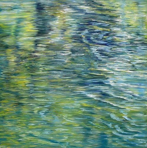 Theresia Züllig, Frühlingsspiegelung, Nature: Water, Landscapes: Sea/Ocean, Naturalism