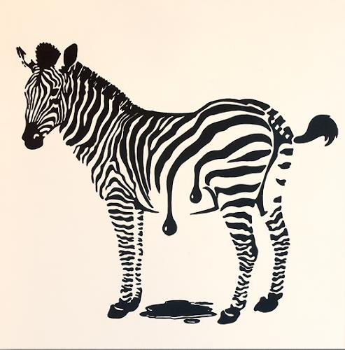 Claudia Elsner, Zebra - Frisch gestrichen, Fantasy, Animals: Land, Pop-Art, Expressionism