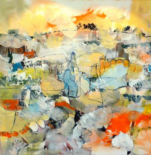 Jahn dArte (Klaus Eduard Jahn), Dorf, Landscapes: Mountains, Abstract Expressionism, Expressionism