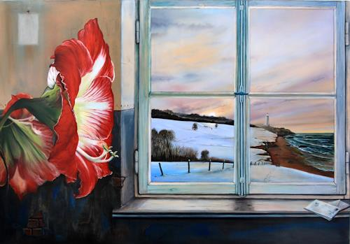 ingo platte, Fernweh, Landscapes: Sea/Ocean, Plants: Flowers, Post-Surrealism, Expressionism