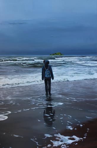 ingo platte, Die grüne Insel (The green island), Landscapes: Sea/Ocean, Nature: Water, Hyperrealism