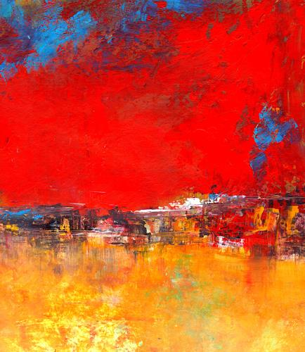 katarina niksic, ABSTRAKT in ROT, Landscapes, Expressionism