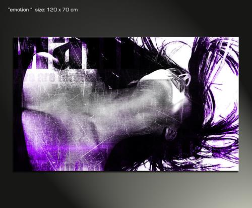 Paul Sinus, emotion purple, Erotic motifs: Female nudes, Hyperrealism, Abstract Expressionism