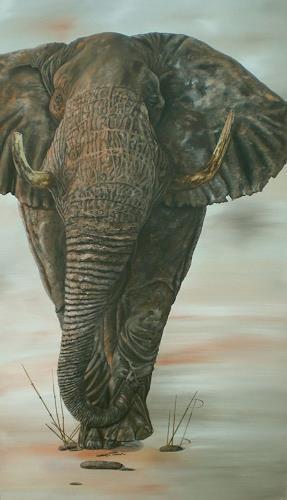 Ulrike Holbinger, Gustav, der Elefant, Hunting, Animals: Land, Realism, Expressionism