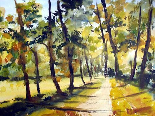 Karin Müller, Spaziergang unter Bäumen, Nature: Wood, Expressionism