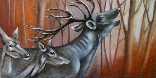 Anne Waldvogel, Der Herbst ist da ... oder, Hunting, Animals: Land, Contemporary Art, Expressionism