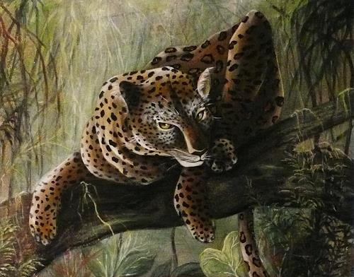 Anne Waldvogel, Leopard im Urwald, Animals: Land, Decorative Art, Contemporary Art