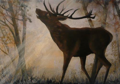 Anne Waldvogel, Hirsch im Morgennebel, Nature: Earth, Animals, Contemporary Art