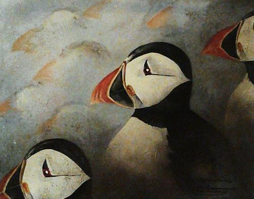 Anne Waldvogel, Papageientaucher, Animals: Water, Contemporary Art, Expressionism