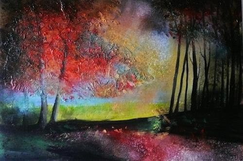 Anne Waldvogel, Indian Summer 2, Plants: Trees, Landscapes, Contemporary Art, Abstract Expressionism