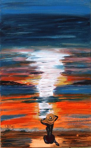Brigitte Kölli, Sunset, People: Women, Landscapes: Sea/Ocean, Concrete Art