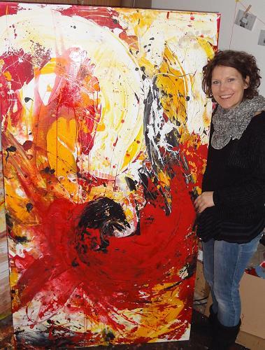 Conny Wachsmann, Bild in rot gelb Großformat - Magie der Liebe, Abstract art, Emotions: Love, Modern Age
