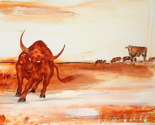 Conny Wachsmann, Stierbild - Ich gehe meinen Weg, Animals, Situations, New Figurative Art