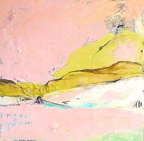 Conny Wachsmann, rosa abstraktes Bild, Landscapes, Abstract art, Abstract Art