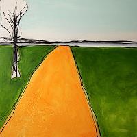 Conny Wachsmann, Zum Flußufer - Bild in gelb grün