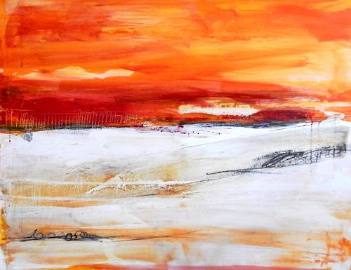 Conny Wachsmann, orange rot Landschaft, Landscapes, Abstract art, Modern Age