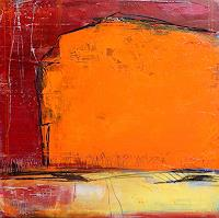 Conny Wachsmann, abstrakt orange rot Einweihungsfeier