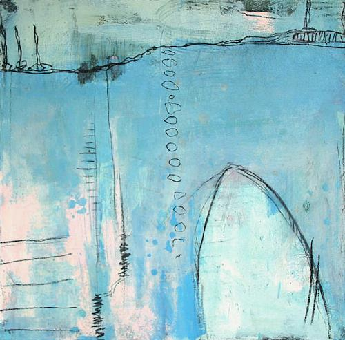 Conny Wachsmann, blaues Bild, Landscapes: Plains, Abstract art, Abstract Art, Expressionism