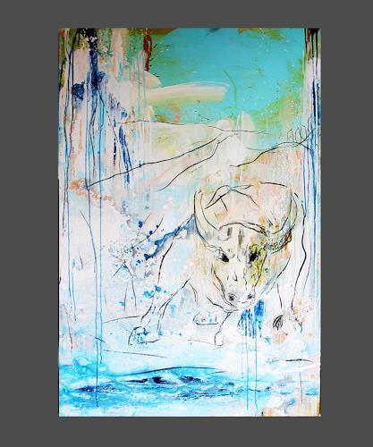 Conny Wachsmann, Sugar Baby - Stier gemalt, Animals: Water, Miscellaneous Animals, Modern Age