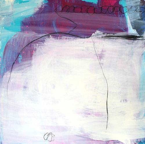 Conny Wachsmann, Gemeinsam schaffen wir das - lila beige, Abstract art, Landscapes, Abstract Art