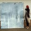 Conny Wachsmann, abstraktes blaues Bild - Nachtsprünge
