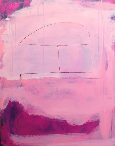 Conny Wachsmann, pinkes rotes rosa Bild - Die kurze Sommerhusche, People, Abstract art, Abstract Art