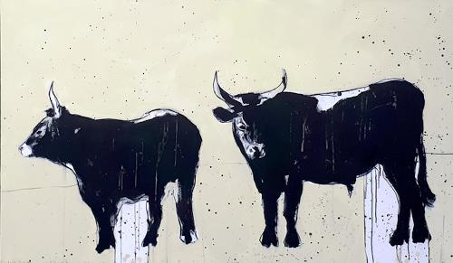 Conny Wachsmann, Stiere 160 x 100 cm  gemalt, Miscellaneous Animals, Society, Minimal Art, Abstract Expressionism