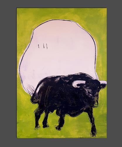 Conny Wachsmann, Stier gemalt grün beige, Miscellaneous Animals, Miscellaneous Landscapes, Concrete Art, Abstract Expressionism