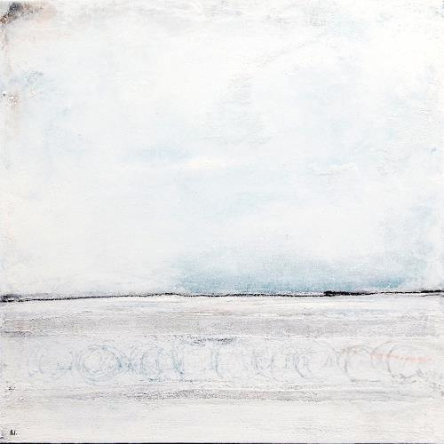 Conny Wachsmann, Ruhesteg - weisses Bild 80 x 80 cm, Abstract art, Miscellaneous Landscapes, Abstract Art, Expressionism