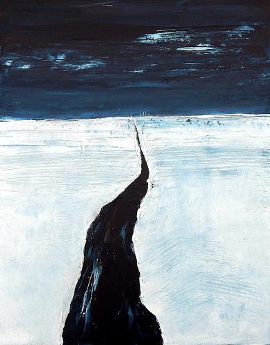 Conny Wachsmann, Fluß zur Stadt, Landscapes: Sea/Ocean, Landscapes: Winter, Art Déco, Abstract Expressionism