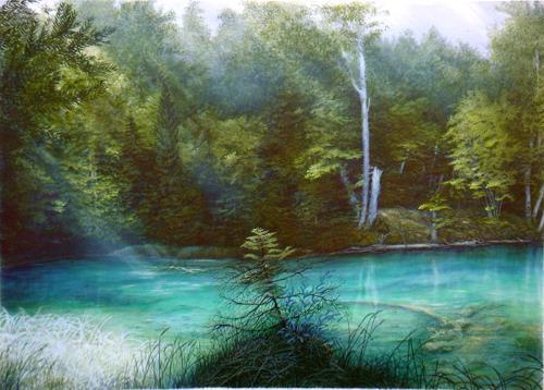 . Angerer der Ältere, Listsee im Rupertiwinkel, Hl. Rupert, Nature: Water, Landscapes: Sea/Ocean, Romanticism, Expressionism