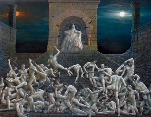. Angerer der Ältere, Plötzlich, mitten in der Nacht....-Schlachtengemälde, People, Mythology, Contemporary Art, Abstract Expressionism