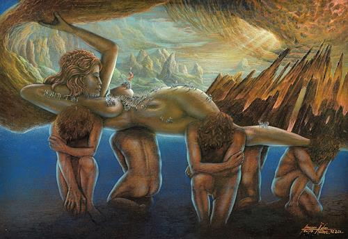 . Angerer der Ältere, Gaia - Erda, People: Group, Landscapes: Mountains, Contemporary Art, Expressionism