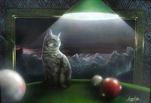 . Angerer der Ältere, Katze auf dem Billardtisch, Fantasy, Animals: Land, Contemporary Art