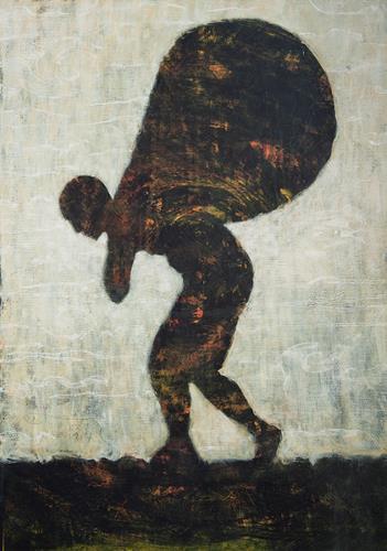 Christoph M. Frisch, Monddieb, People: Men, Fantasy, Contemporary Art, Abstract Expressionism